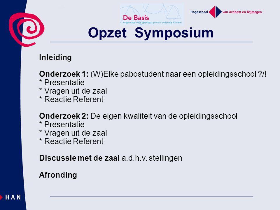 Opzet Symposium Inleiding Onderzoek 1: (W)Elke pabostudent naar een opleidingsschool ?/! * Presentatie * Vragen uit de zaal * Reactie Referent Onderzo