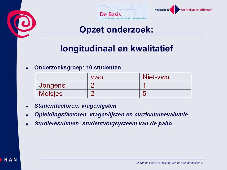 Onderzoek naar de kwaliteit van de opleidingsschool Opzet onderzoek: longitudinaal en kwalitatief Onderzoeksgroep: 10 studenten Studentfactoren: vrage