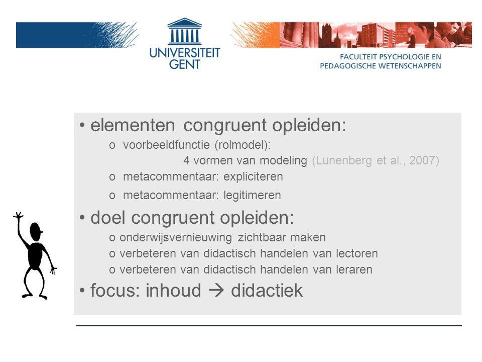 elementen congruent opleiden: o voorbeeldfunctie (rolmodel): 4 vormen van modeling (Lunenberg et al., 2007) o metacommentaar: expliciteren o metacomme