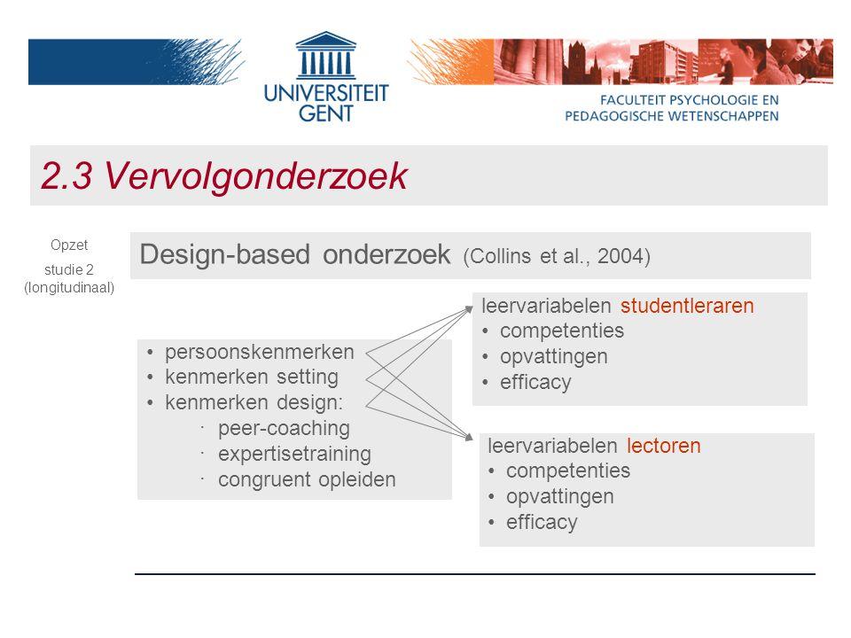 2.3 Vervolgonderzoek Design-based onderzoek (Collins et al., 2004) Opzet studie 2 (longitudinaal) persoonskenmerken kenmerken setting kenmerken design