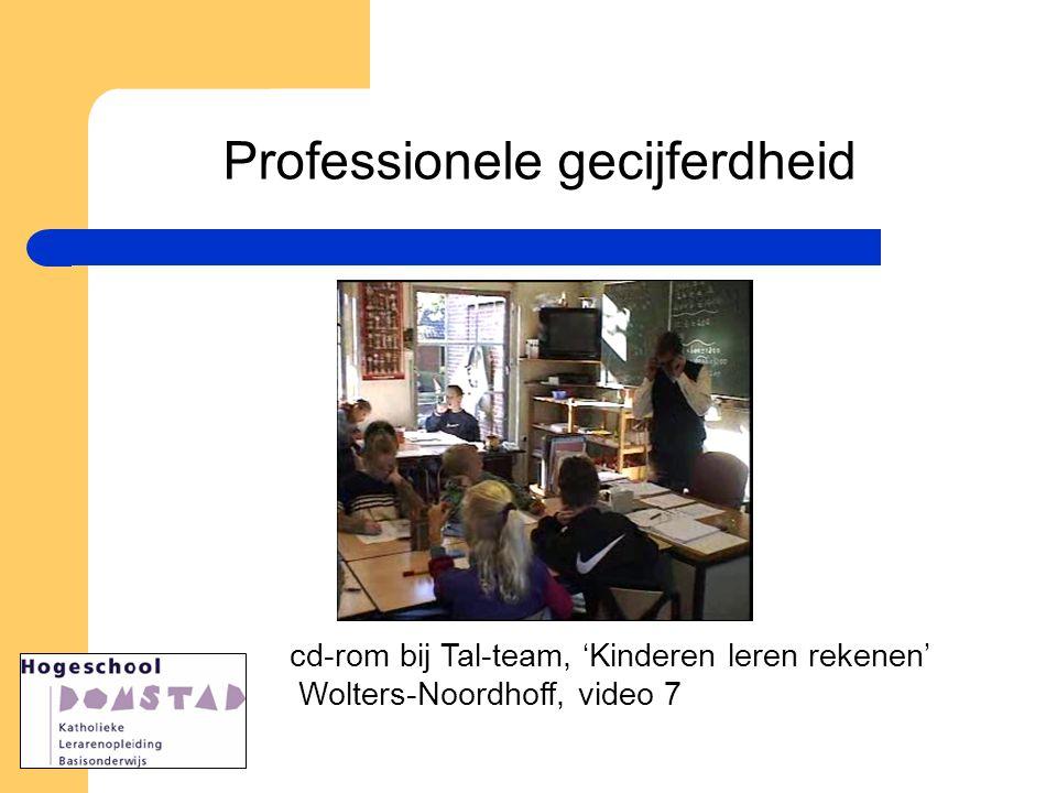 cd-rom bij Tal-team, 'Kinderen leren rekenen' Wolters-Noordhoff, video 7 Professionele gecijferdheid