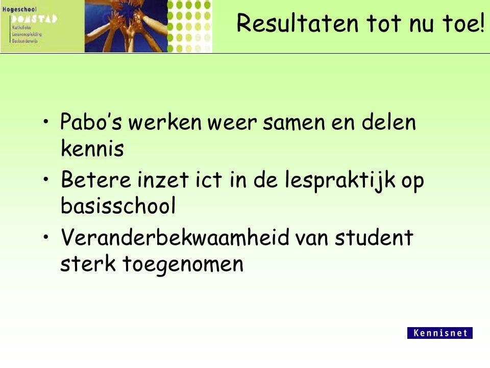 Resultaten tot nu toe! Pabo's werken weer samen en delen kennis Betere inzet ict in de lespraktijk op basisschool Veranderbekwaamheid van student ster