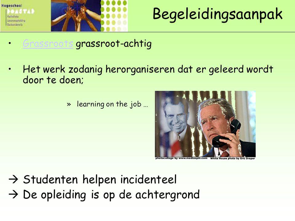 Begeleidingsaanpak Grassroots grassroot-achtigGrassroots Het werk zodanig herorganiseren dat er geleerd wordt door te doen; »learning on the job …  S