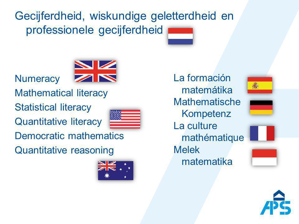 Gecijferdheid, wiskundige geletterdheid en professionele gecijferdheid Numeracy Mathematical literacy Statistical literacy Quantitative literacy Democ
