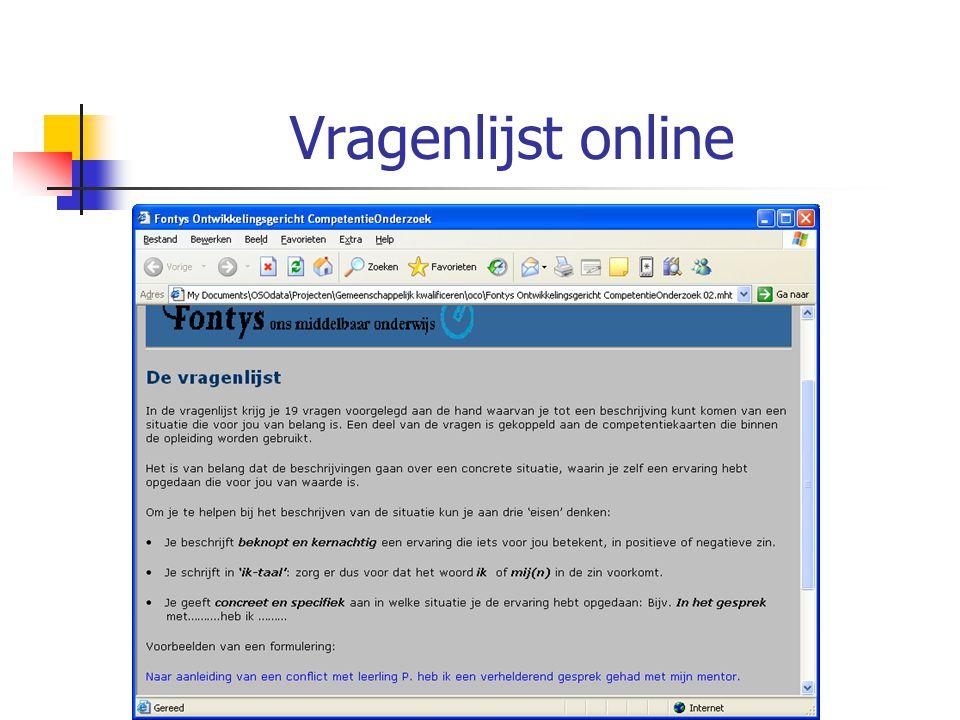 12 maart 2007 Vragenlijst online