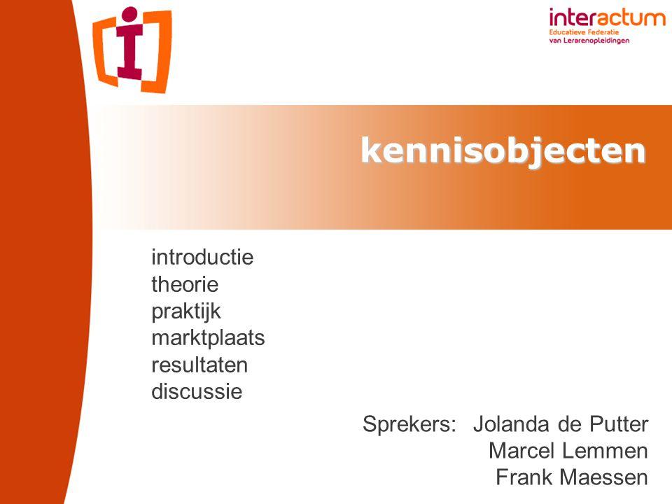 kennisobjecten Sprekers: Jolanda de Putter Marcel Lemmen Frank Maessen introductie theorie praktijk marktplaats resultaten discussie