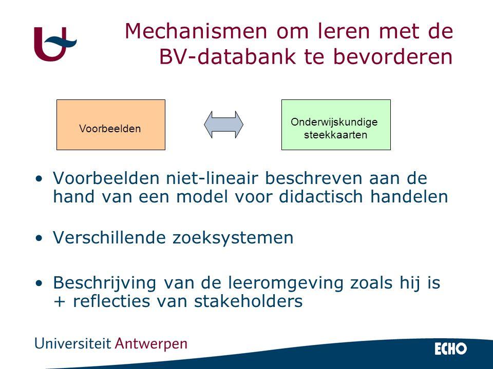 Mechanismen om leren met de BV-databank te bevorderen Voorbeelden niet-lineair beschreven aan de hand van een model voor didactisch handelen Verschillende zoeksystemen Beschrijving van de leeromgeving zoals hij is + reflecties van stakeholders Voorbeelden Onderwijskundige steekkaarten