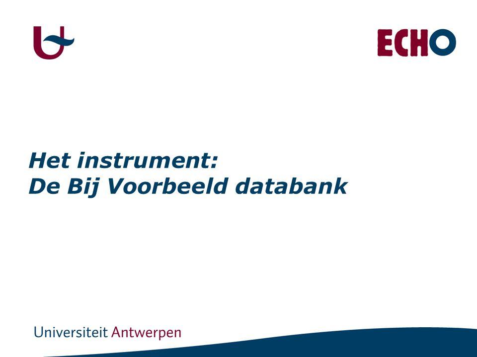 Het instrument: De Bij Voorbeeld databank