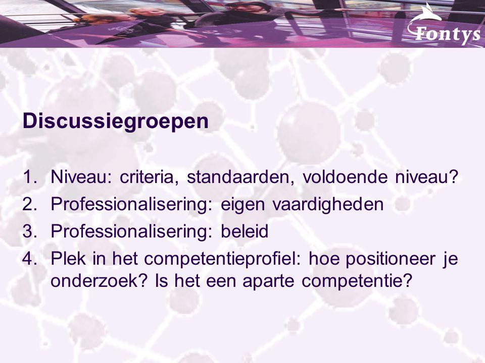 Discussiegroepen 1.Niveau: criteria, standaarden, voldoende niveau? 2.Professionalisering: eigen vaardigheden 3.Professionalisering: beleid 4.Plek in