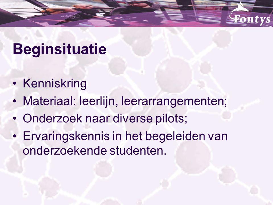 Beginsituatie Kenniskring Materiaal: leerlijn, leerarrangementen; Onderzoek naar diverse pilots; Ervaringskennis in het begeleiden van onderzoekende s