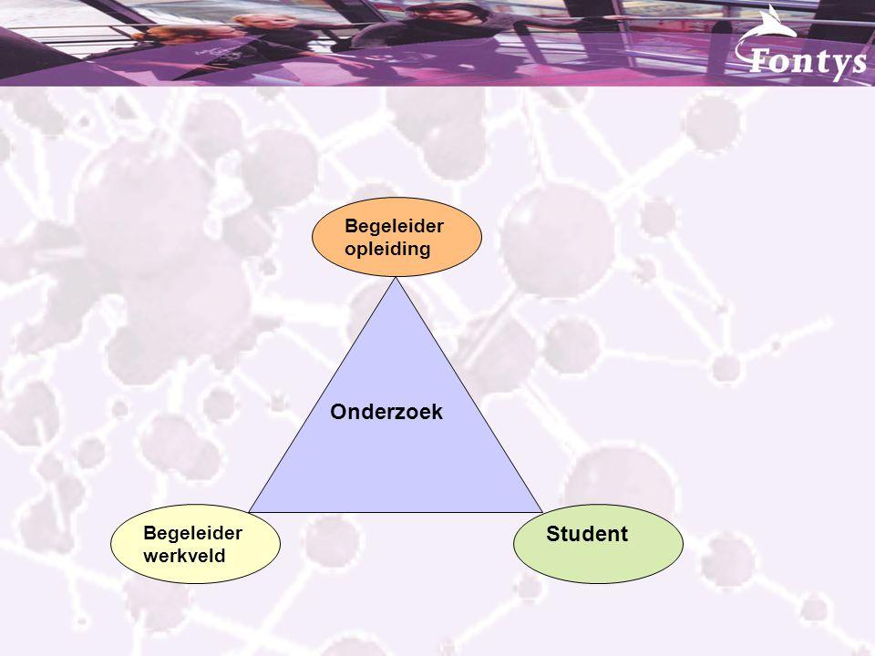 Onderzoek Begeleider werkveld Begeleider opleiding Student