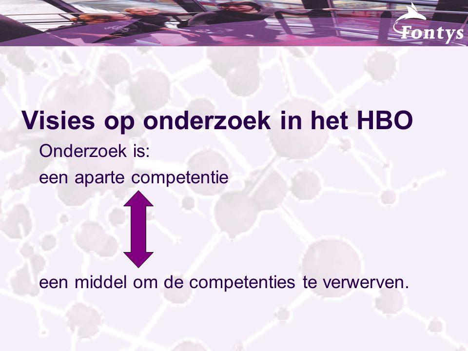 Visies op onderzoek in het HBO Onderzoek is: een aparte competentie een middel om de competenties te verwerven.