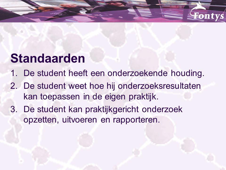 Standaarden 1.De student heeft een onderzoekende houding. 2.De student weet hoe hij onderzoeksresultaten kan toepassen in de eigen praktijk. 3.De stud