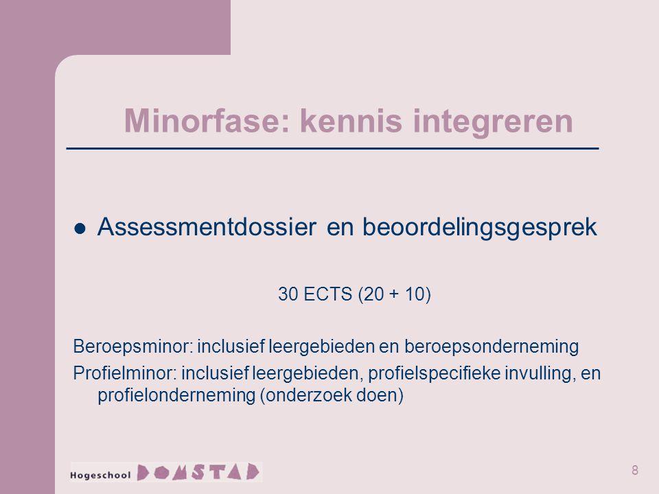 8 Minorfase: kennis integreren Assessmentdossier en beoordelingsgesprek 30 ECTS (20 + 10) Beroepsminor: inclusief leergebieden en beroepsonderneming P