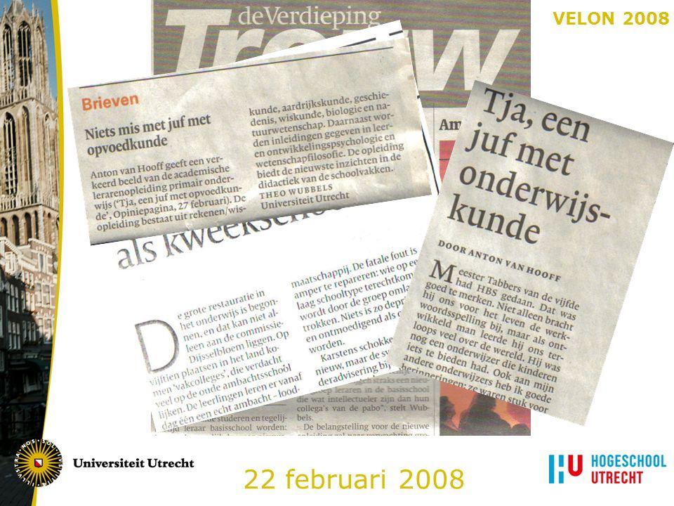 VELON 2008 Het onderwijsprogramma in schema: Eerste jaar