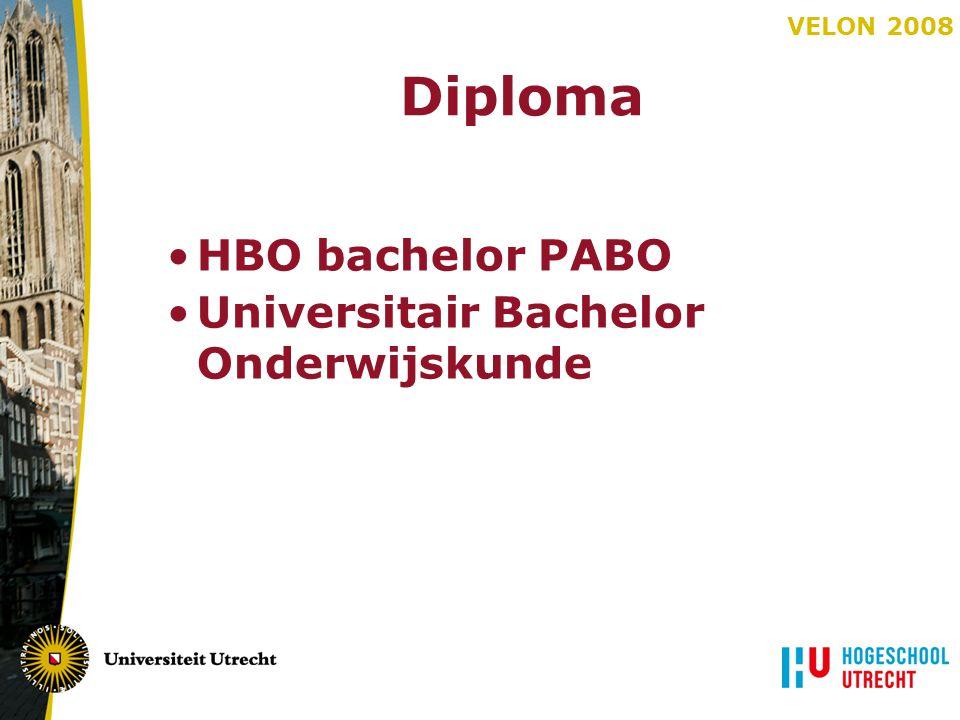 VELON 2008 Diploma HBO bachelor PABO Universitair Bachelor Onderwijskunde