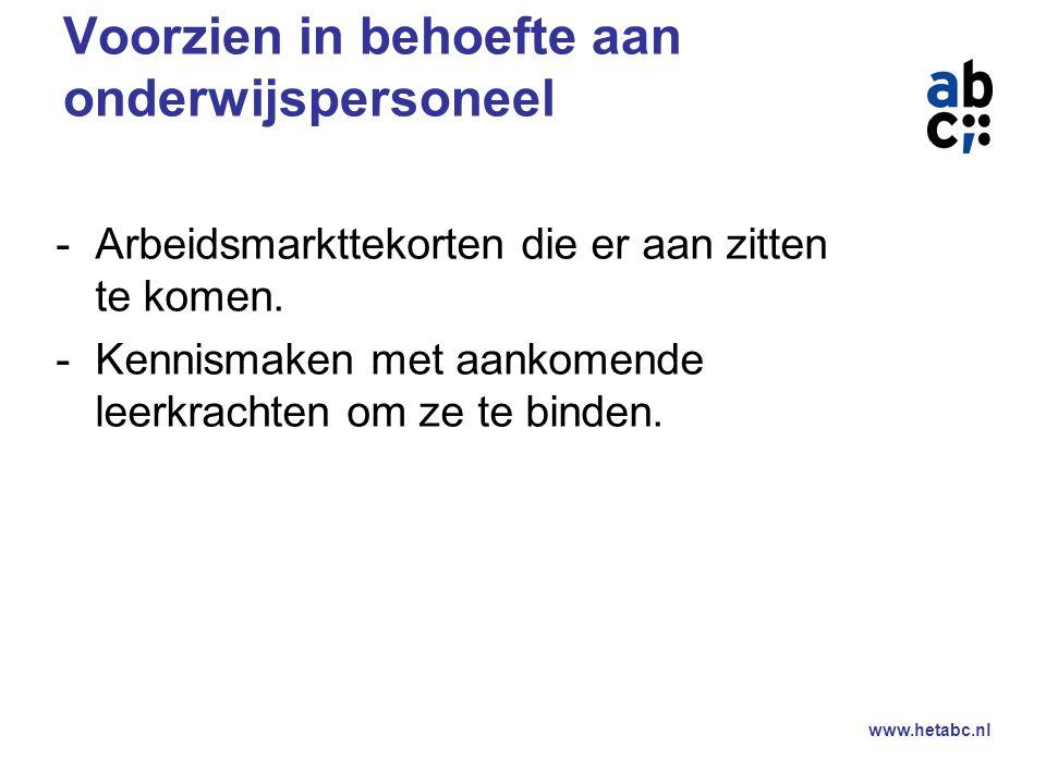 www.hetabc.nl Scholen een grotere rol laten spelen in de opleiding van leerkrachten Hij die onderwijst leert het meest…… Maar ook; Onvrede over afgeleverde studenten.