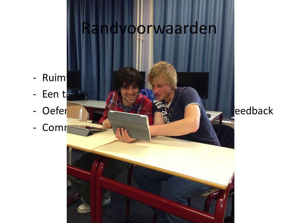 -Ruimte in het rooster -Een tablet/ iPad per student -Oefenen in het geven en ontvangen van feedback -Communicatie met de stageschool Randvoorwaarden