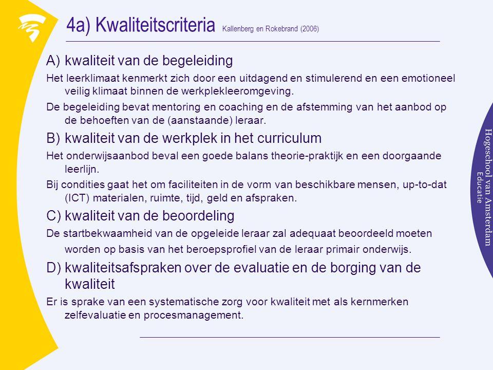 4a) Kwaliteitscriteria Kallenberg en Rokebrand (2006) A)kwaliteit van de begeleiding Het leerklimaat kenmerkt zich door een uitdagend en stimulerend en een emotioneel veilig klimaat binnen de werkplekleeromgeving.