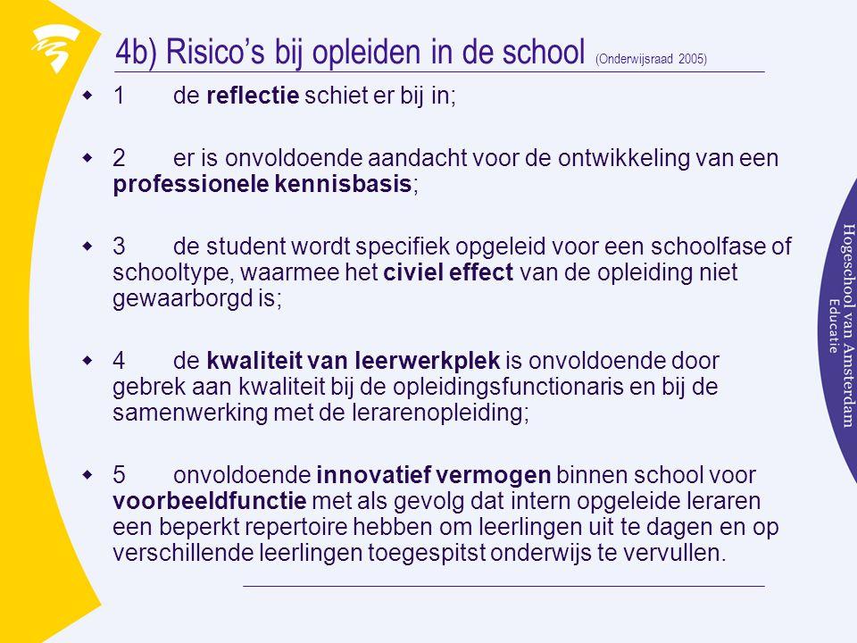 4b) Risico's bij opleiden in de school (Onderwijsraad 2005)  1 de reflectie schiet er bij in;  2 er is onvoldoende aandacht voor de ontwikkeling van een professionele kennisbasis;  3 de student wordt specifiek opgeleid voor een schoolfase of schooltype, waarmee het civiel effect van de opleiding niet gewaarborgd is;  4 de kwaliteit van leerwerkplek is onvoldoende door gebrek aan kwaliteit bij de opleidingsfunctionaris en bij de samenwerking met de lerarenopleiding;  5 onvoldoende innovatief vermogen binnen school voor voorbeeldfunctie met als gevolg dat intern opgeleide leraren een beperkt repertoire hebben om leerlingen uit te dagen en op verschillende leerlingen toegespitst onderwijs te vervullen.