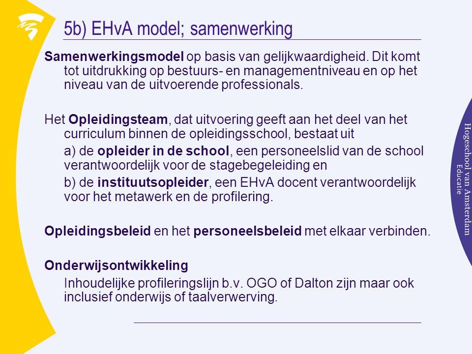 5b) EHvA model; samenwerking Samenwerkingsmodel op basis van gelijkwaardigheid. Dit komt tot uitdrukking op bestuurs- en managementniveau en op het ni