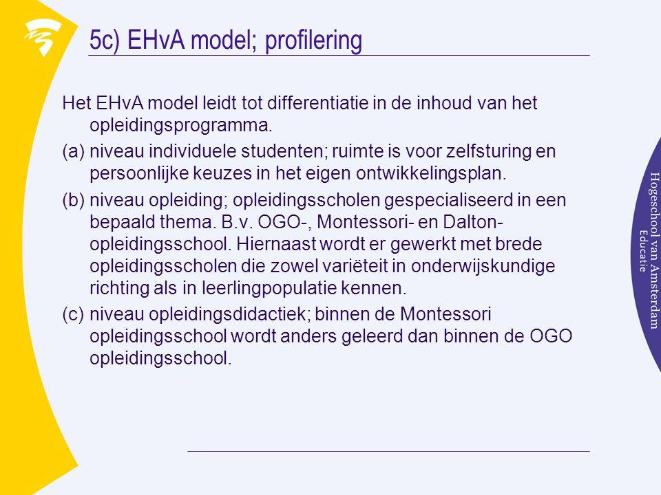 5c) EHvA model; profilering Het EHvA model leidt tot differentiatie in de inhoud van het opleidingsprogramma. (a)niveau individuele studenten; ruimte