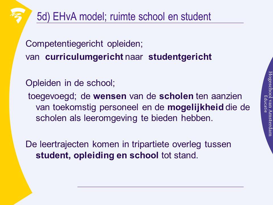 5d) EHvA model; ruimte school en student Competentiegericht opleiden; van curriculumgericht naar studentgericht Opleiden in de school; toegevoegd; de wensen van de scholen ten aanzien van toekomstig personeel en de mogelijkheid die de scholen als leeromgeving te bieden hebben.
