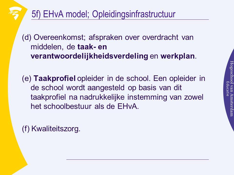 5f) EHvA model; Opleidingsinfrastructuur (d) Overeenkomst; afspraken over overdracht van middelen, de taak- en verantwoordelijkheidsverdeling en werkplan.