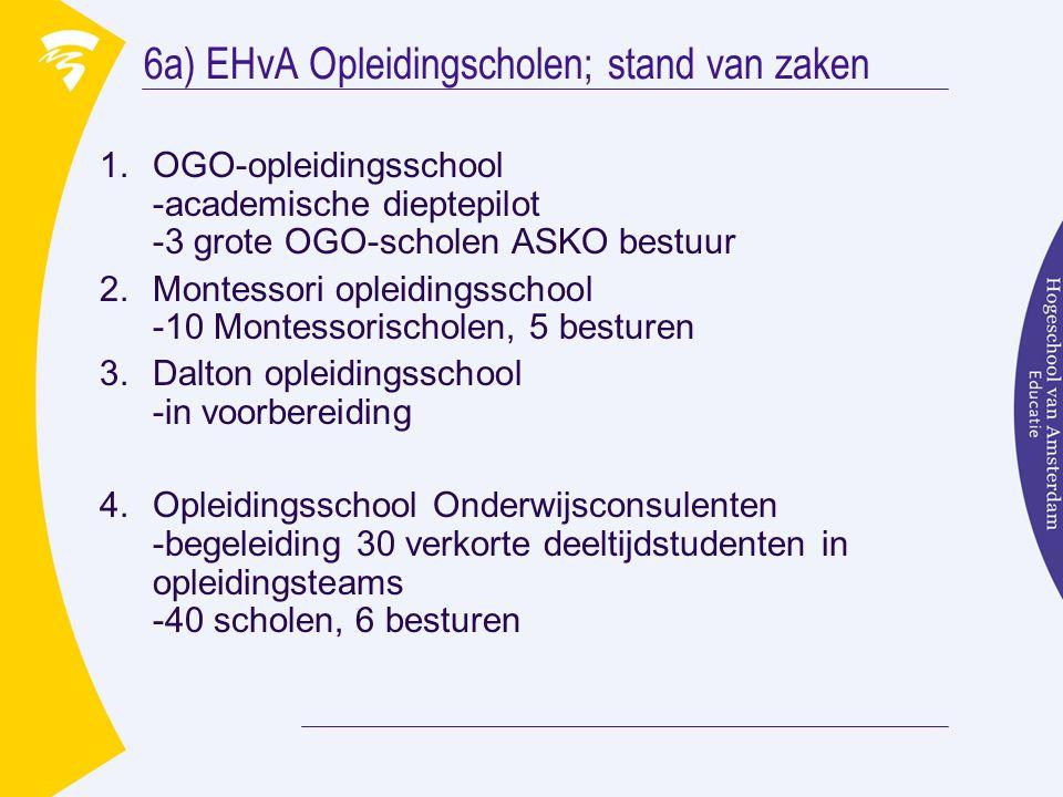 6a) EHvA Opleidingscholen; stand van zaken 1.OGO-opleidingsschool -academische dieptepilot -3 grote OGO-scholen ASKO bestuur 2.Montessori opleidingssc