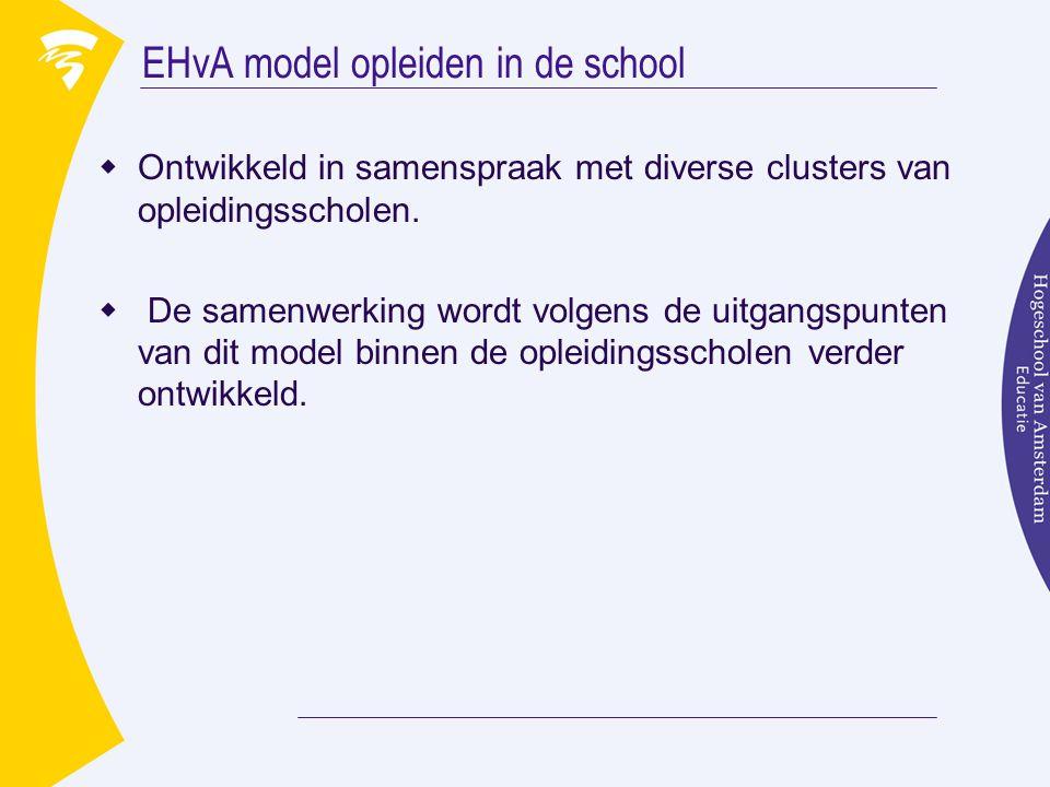 EHvA model opleiden in de school  Ontwikkeld in samenspraak met diverse clusters van opleidingsscholen.  De samenwerking wordt volgens de uitgangspu
