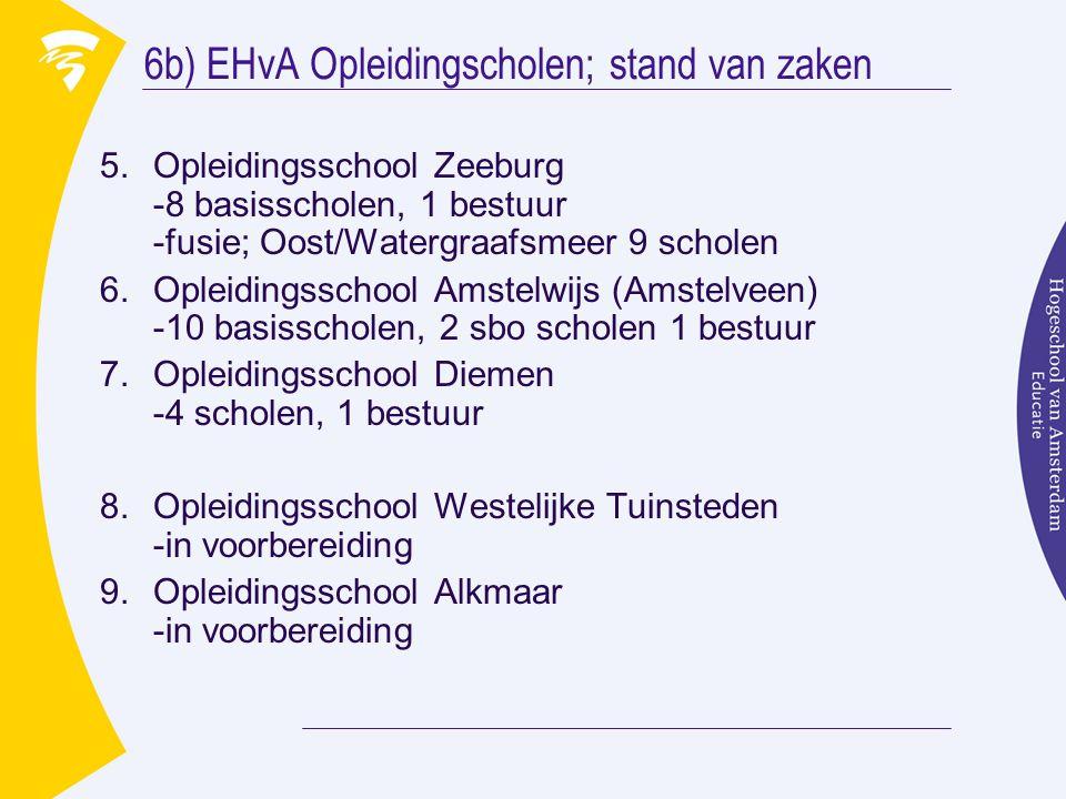 6b) EHvA Opleidingscholen; stand van zaken 5.Opleidingsschool Zeeburg -8 basisscholen, 1 bestuur -fusie; Oost/Watergraafsmeer 9 scholen 6.Opleidingsschool Amstelwijs (Amstelveen) -10 basisscholen, 2 sbo scholen 1 bestuur 7.Opleidingsschool Diemen -4 scholen, 1 bestuur 8.Opleidingsschool Westelijke Tuinsteden -in voorbereiding 9.Opleidingsschool Alkmaar -in voorbereiding