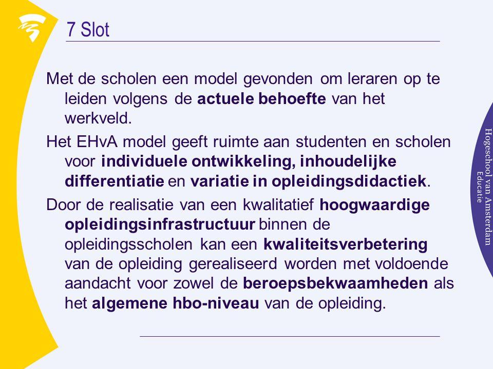 7 Slot Met de scholen een model gevonden om leraren op te leiden volgens de actuele behoefte van het werkveld. Het EHvA model geeft ruimte aan student