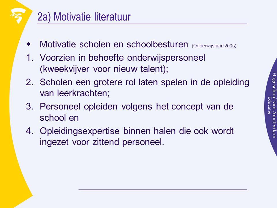 2a) Motivatie literatuur  Motivatie scholen en schoolbesturen (Onderwijsraad 2005) 1.Voorzien in behoefte onderwijspersoneel (kweekvijver voor nieuw