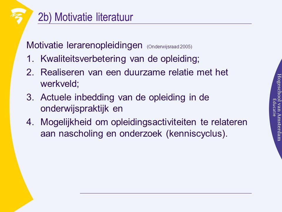 2b) Motivatie literatuur Motivatie lerarenopleidingen (Onderwijsraad 2005) 1.Kwaliteitsverbetering van de opleiding; 2.Realiseren van een duurzame relatie met het werkveld; 3.Actuele inbedding van de opleiding in de onderwijspraktijk en 4.Mogelijkheid om opleidingsactiviteiten te relateren aan nascholing en onderzoek (kenniscyclus).