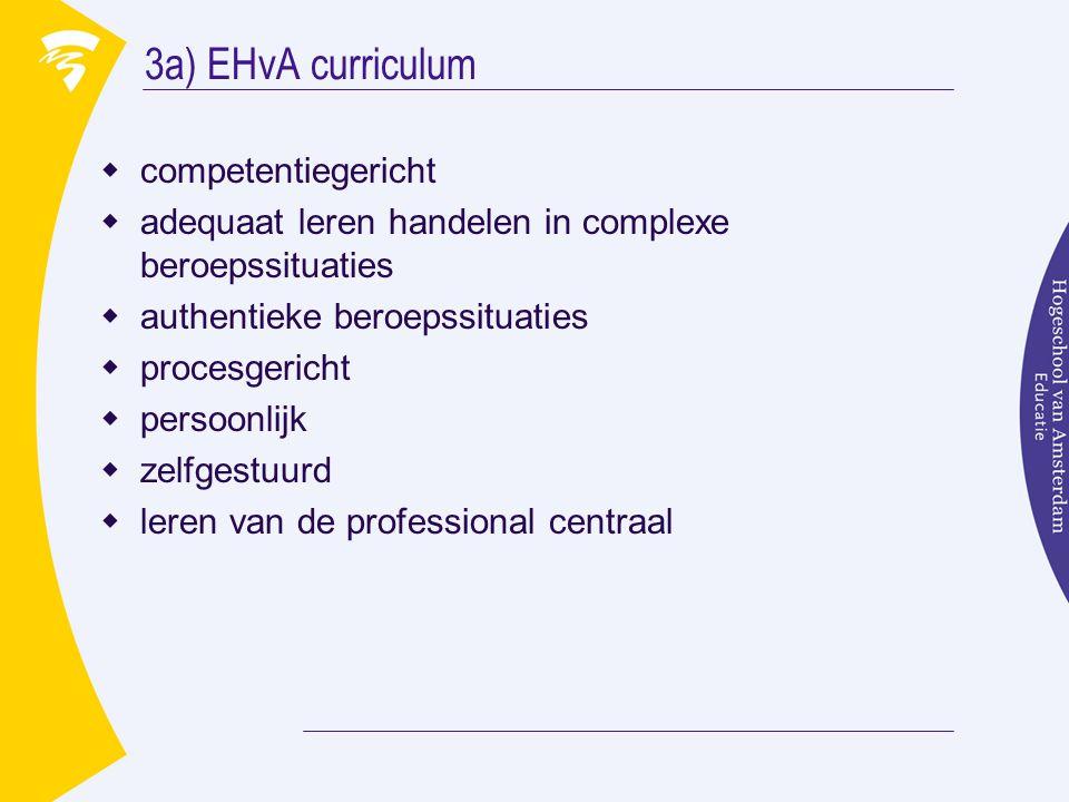 3a) EHvA curriculum  competentiegericht  adequaat leren handelen in complexe beroepssituaties  authentieke beroepssituaties  procesgericht  persoonlijk  zelfgestuurd  leren van de professional centraal