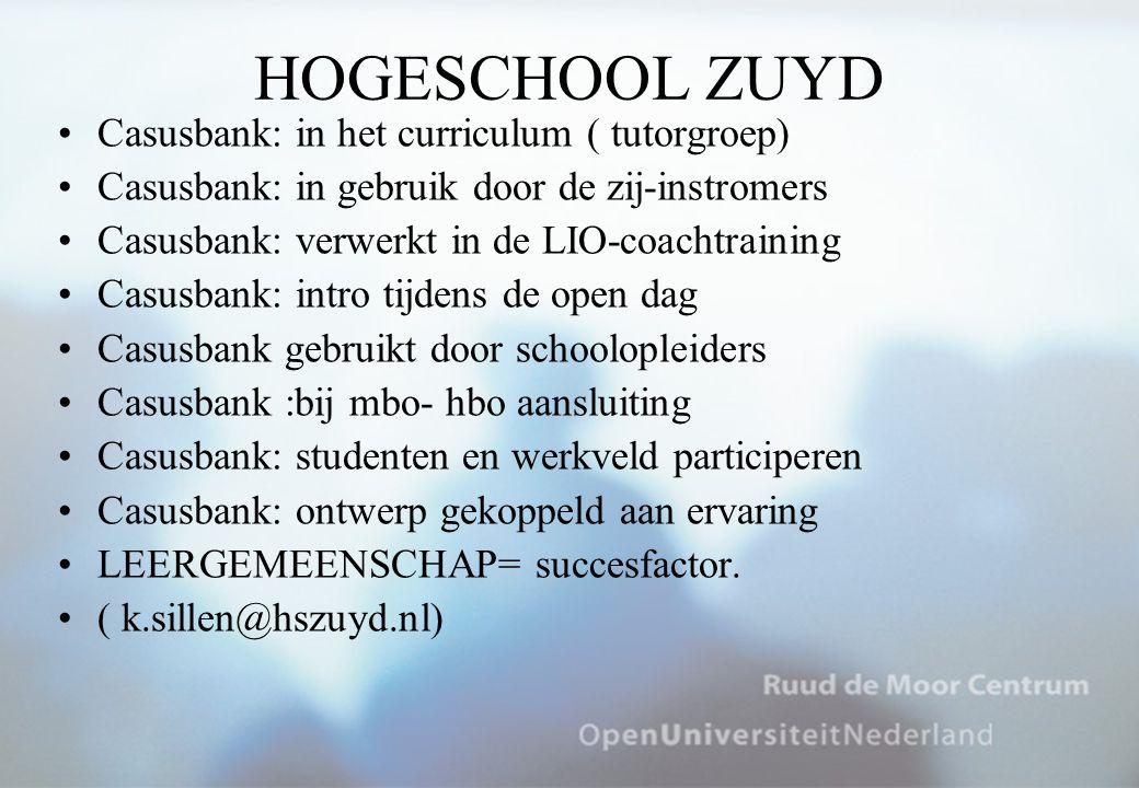 HOGESCHOOL ZUYD Casusbank: in het curriculum ( tutorgroep) Casusbank: in gebruik door de zij-instromers Casusbank: verwerkt in de LIO-coachtraining Ca