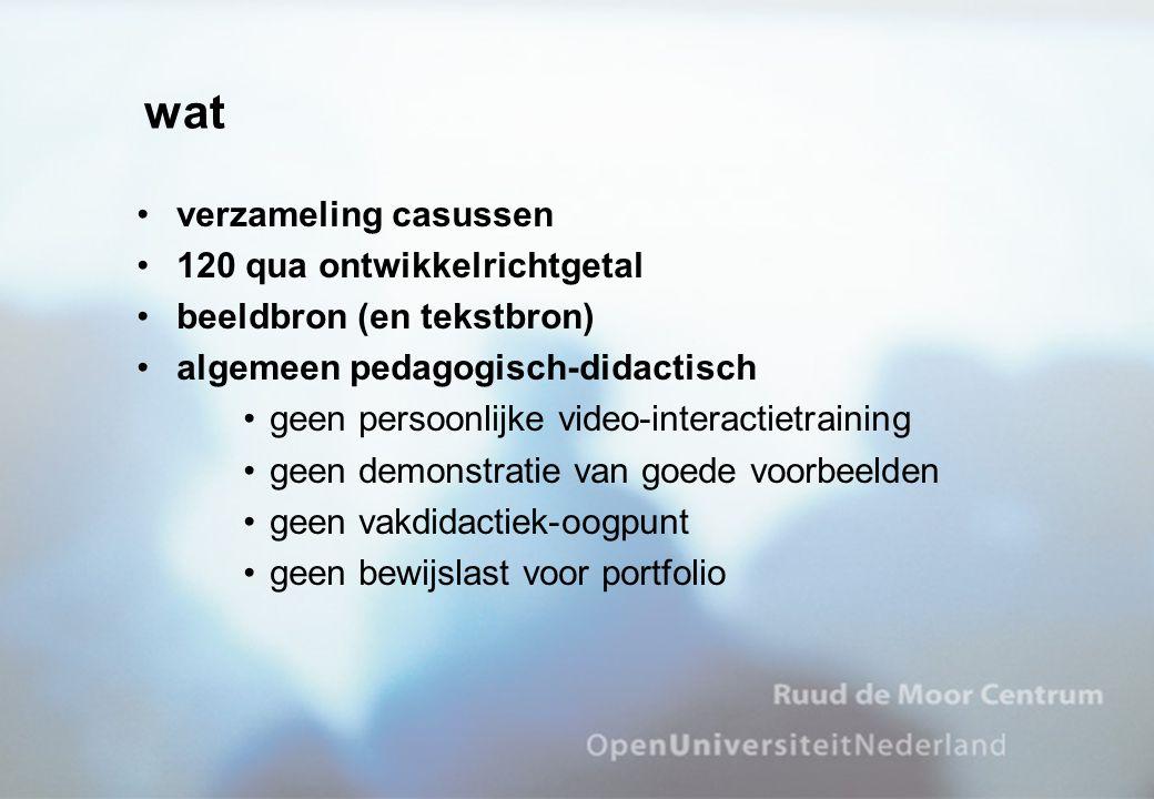 wat verzameling casussen 120 qua ontwikkelrichtgetal beeldbron (en tekstbron) algemeen pedagogisch-didactisch geen persoonlijke video-interactietraini