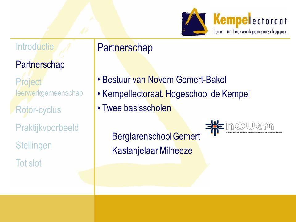 Introductie Partnerschap Project leerwerkgemeenschap Rotor-cyclus Praktijkvoorbeeld Stellingen Tot slot Doel van het project Kwaliteit onderwijsontwikkeling borgen Onderwijs ontwikkelen en onderzoeken d.m.v.