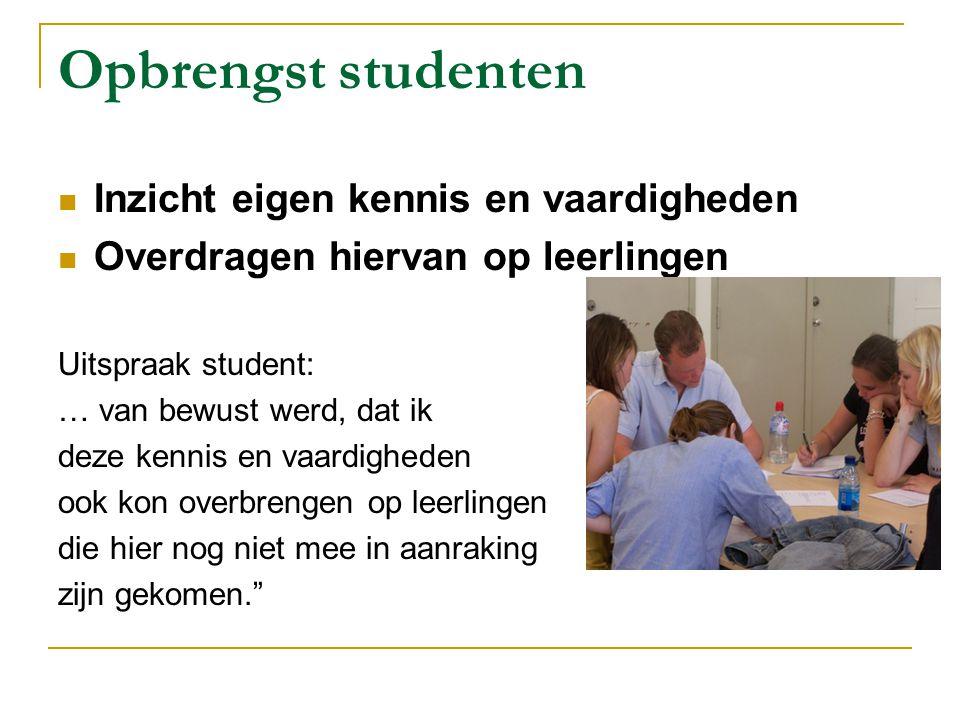 Opbrengst studenten Inzicht eigen kennis en vaardigheden Overdragen hiervan op leerlingen Uitspraak student: … van bewust werd, dat ik deze kennis en
