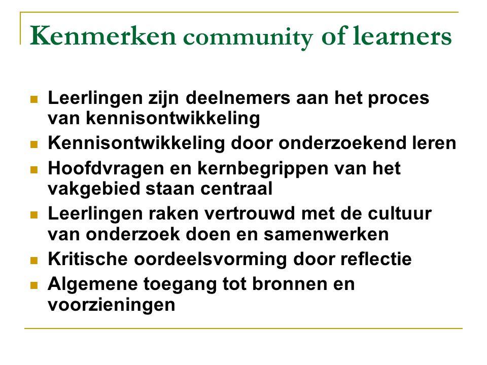 Kenmerken community of learners Leerlingen zijn deelnemers aan het proces van kennisontwikkeling Kennisontwikkeling door onderzoekend leren Hoofdvrage