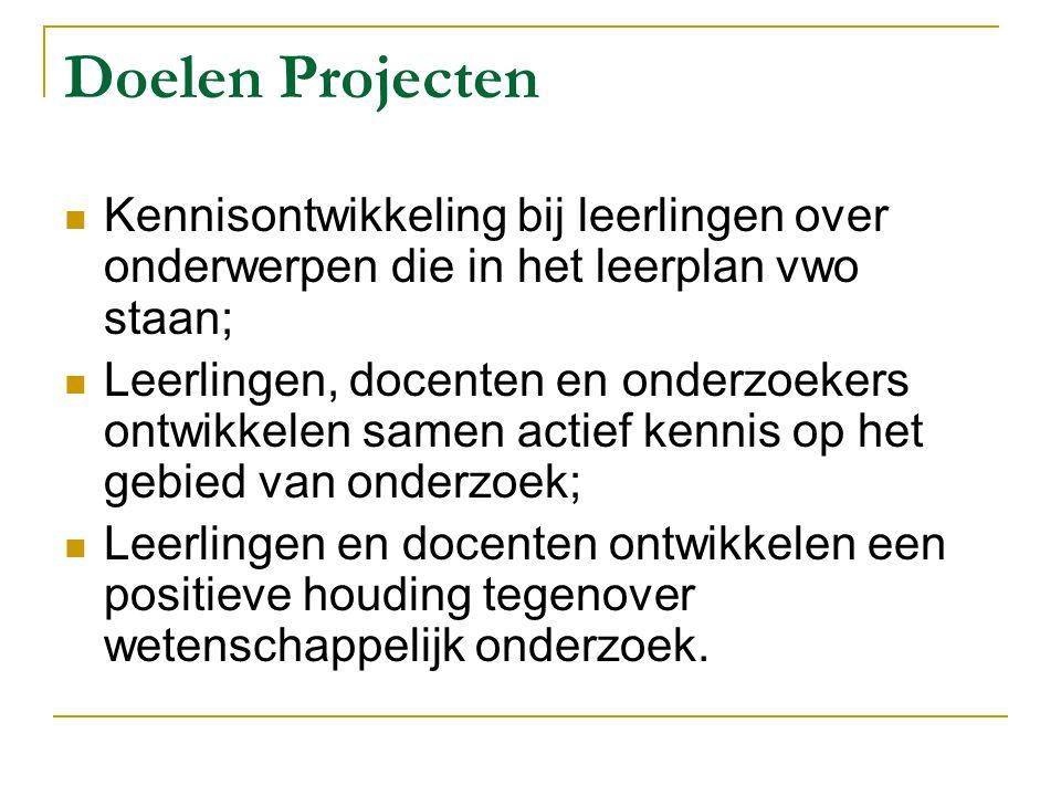Doelen Projecten Kennisontwikkeling bij leerlingen over onderwerpen die in het leerplan vwo staan; Leerlingen, docenten en onderzoekers ontwikkelen sa
