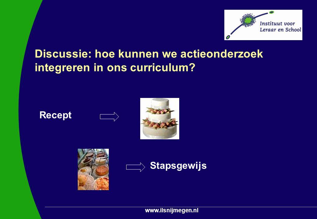 www.ilsnijmegen.nl Discussie: hoe kunnen we actieonderzoek integreren in ons curriculum? Recept Stapsgewijs