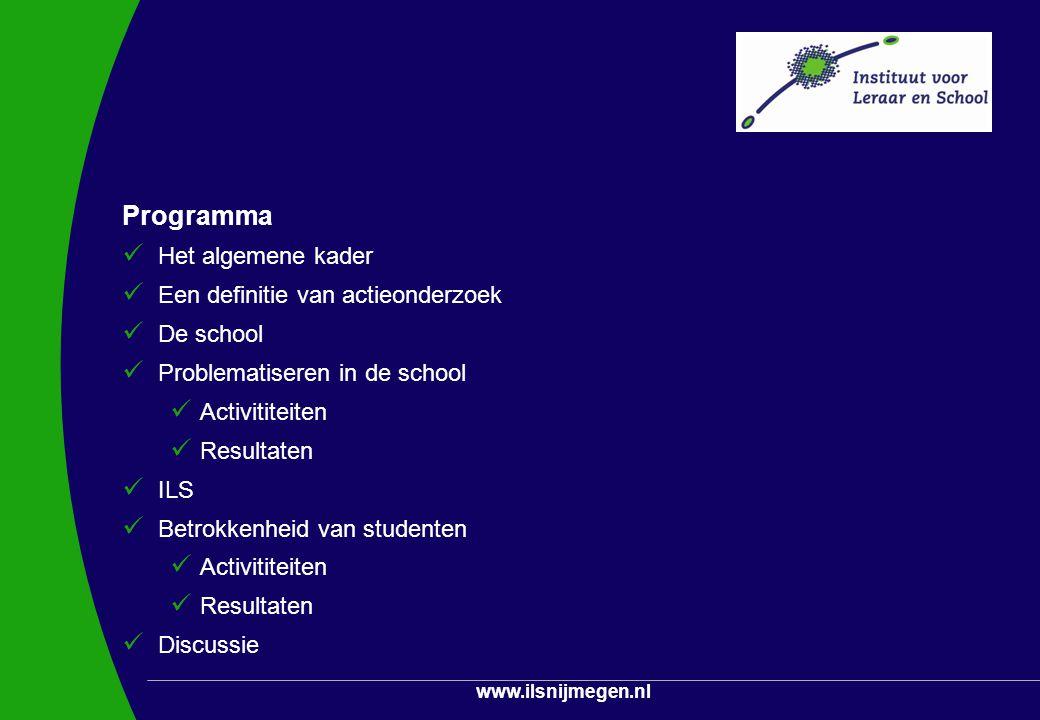 www.ilsnijmegen.nl Programma Het algemene kader Een definitie van actieonderzoek De school Problematiseren in de school Activititeiten Resultaten ILS