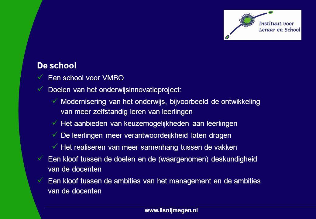 www.ilsnijmegen.nl Problematiseren in de school Activiteiten Vergaderingen met de schoolleiding Deelname aan projectgroepen Observaties en interviews Participerende observaties (betrokkenheid van studenten) Feedbacksessies