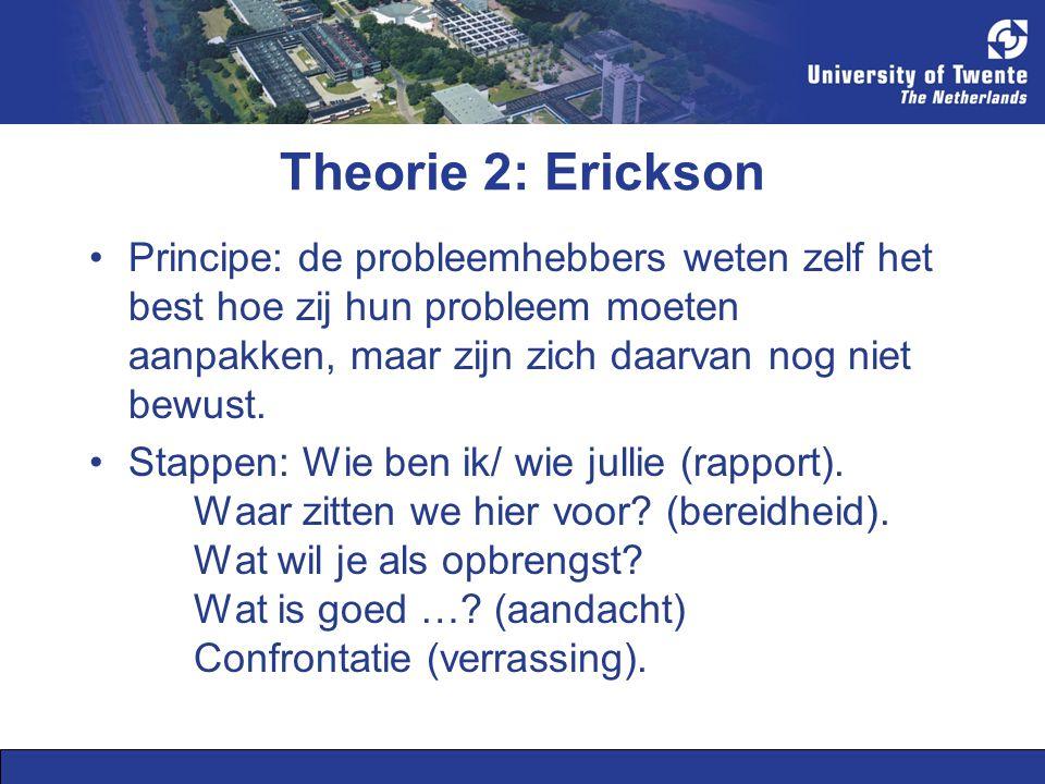 Theorie 2: Erickson Principe: de probleemhebbers weten zelf het best hoe zij hun probleem moeten aanpakken, maar zijn zich daarvan nog niet bewust. St