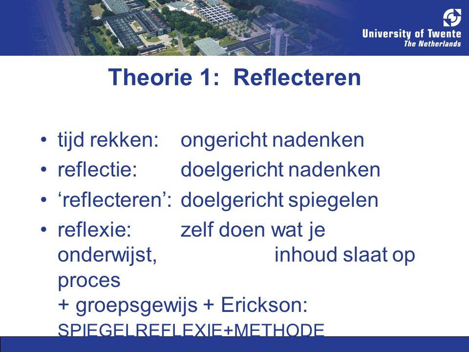 Theorie 1: Reflecteren tijd rekken: ongericht nadenken reflectie: doelgericht nadenken 'reflecteren': doelgericht spiegelen reflexie: zelf doen wat je