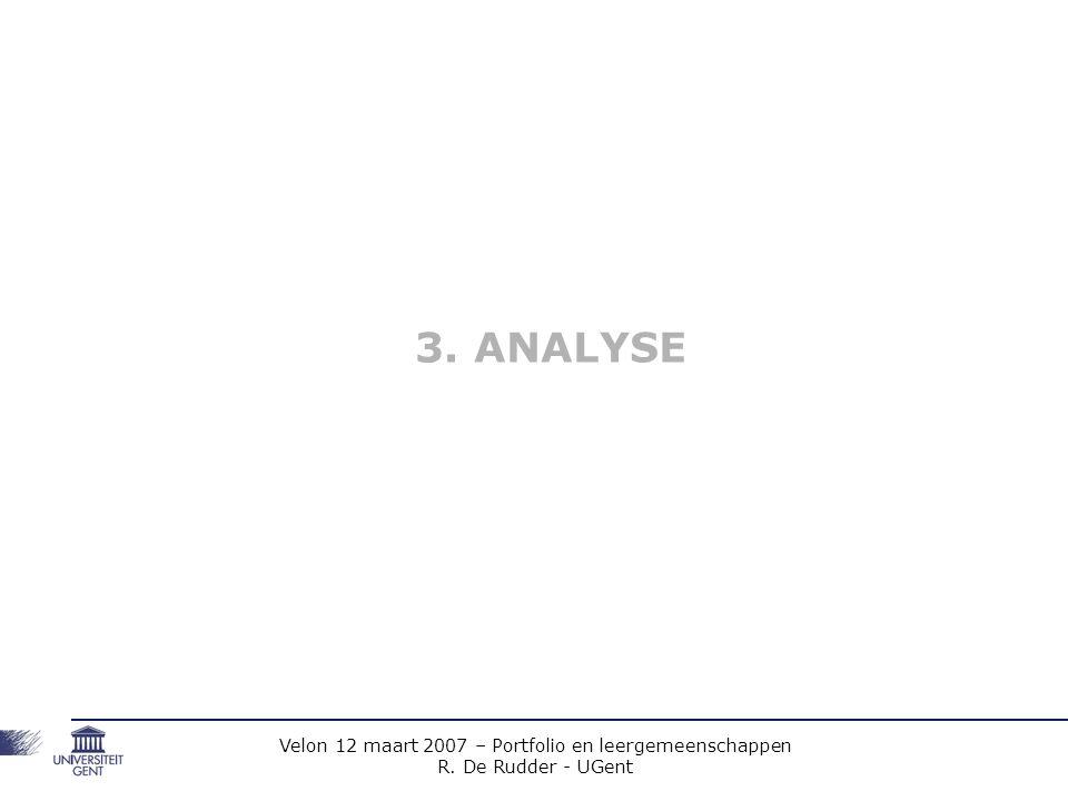 Velon 12 maart 2007 – Portfolio en leergemeenschappen R. De Rudder - UGent 3. ANALYSE
