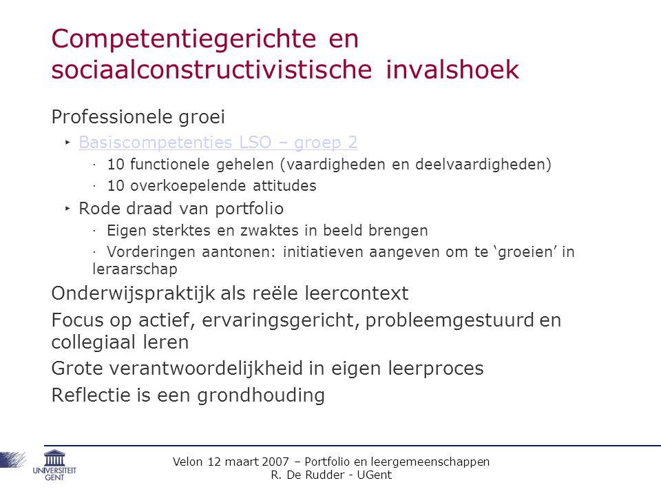 Velon 12 maart 2007 – Portfolio en leergemeenschappen R. De Rudder - UGent Competentiegerichte en sociaalconstructivistische invalshoek Professionele