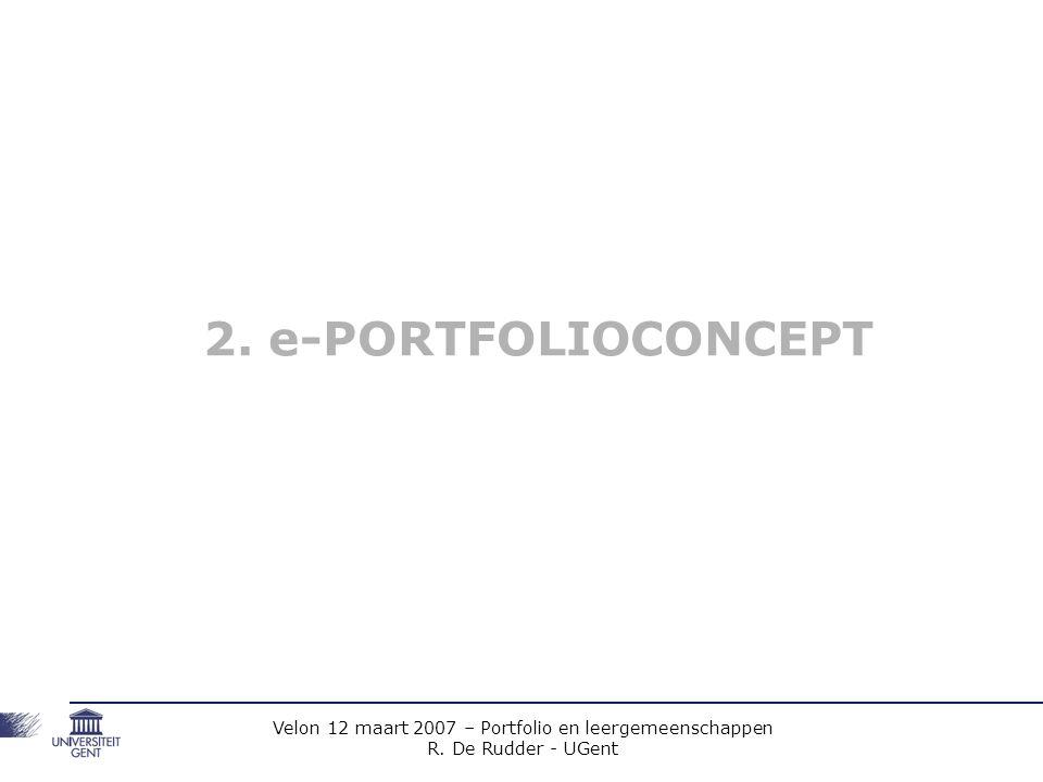 Velon 12 maart 2007 – Portfolio en leergemeenschappen R.