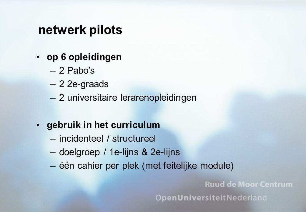 netwerk pilots op 6 opleidingen –2 Pabo's –2 2e-graads –2 universitaire lerarenopleidingen gebruik in het curriculum –incidenteel / structureel –doelgroep / 1e-lijns & 2e-lijns –één cahier per plek (met feitelijke module)